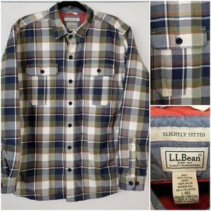 L.L. Bean Primaloft Lined Shirt Jacket Plaid Large
